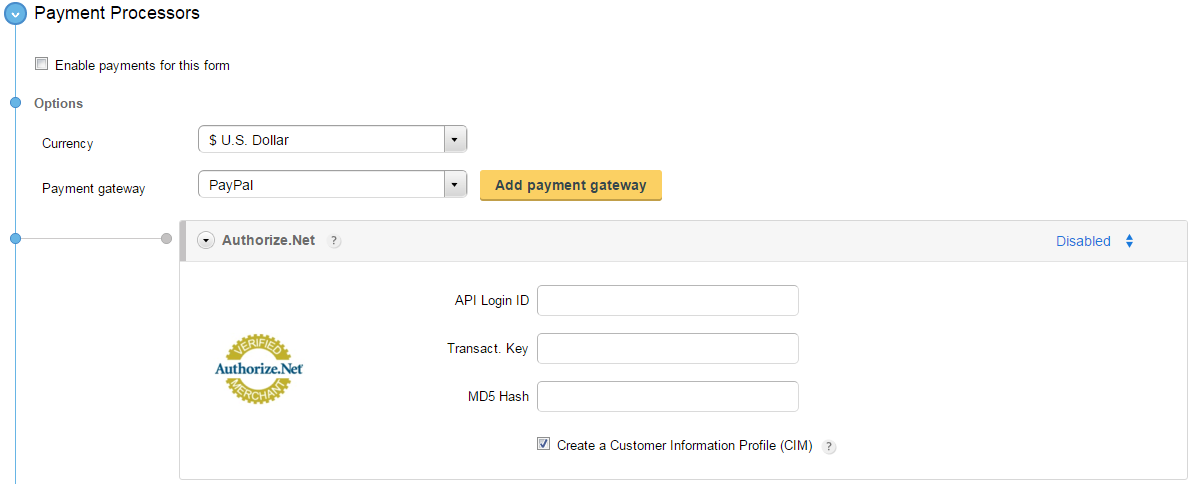 process payments in Authorize.net through order forms