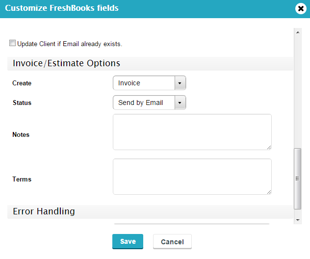 create invoices or estimate in FreshBooks with forms