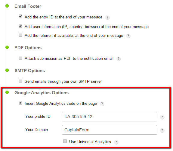 track form with google universal analytics