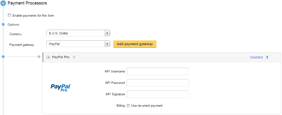 create paypal pro order forms