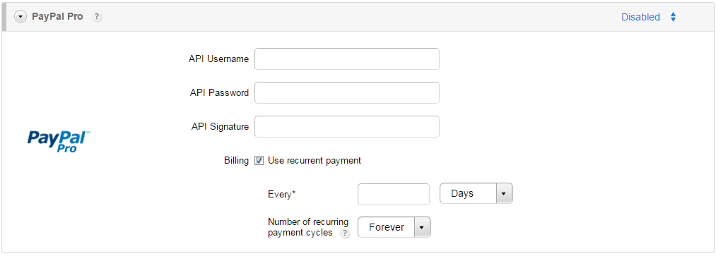 paypal pro recurrent payment order forms
