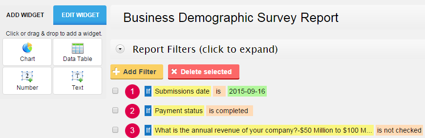 filter reports through form submissions