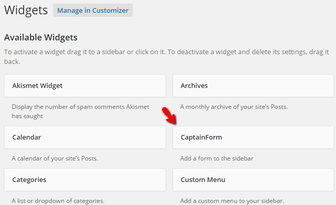 wordpress form widget