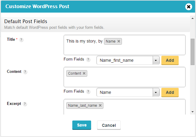 wordpress posts via forms