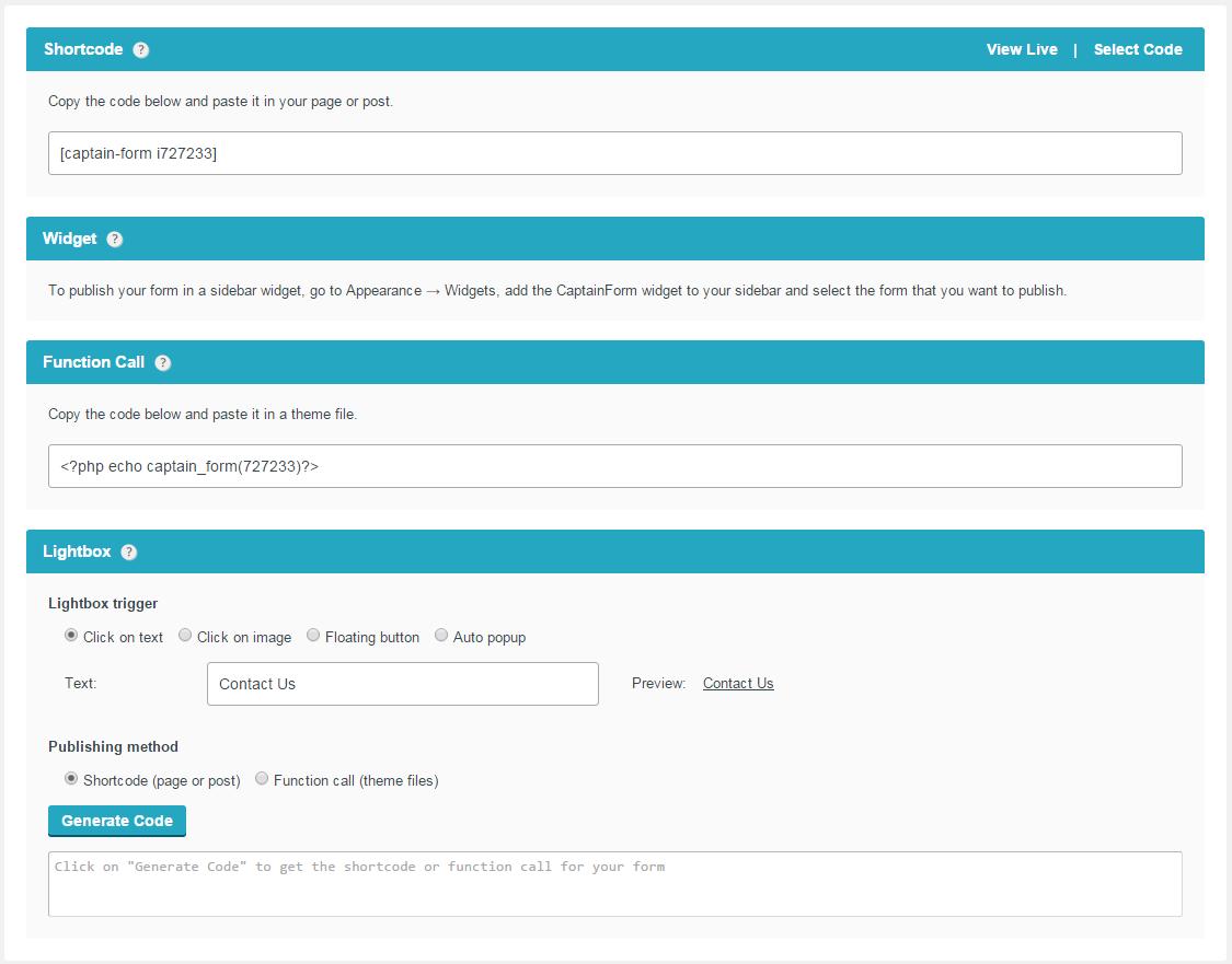 form publishing options on wordpress