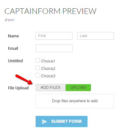 Adding a File Upload field to your form | CaptainForm