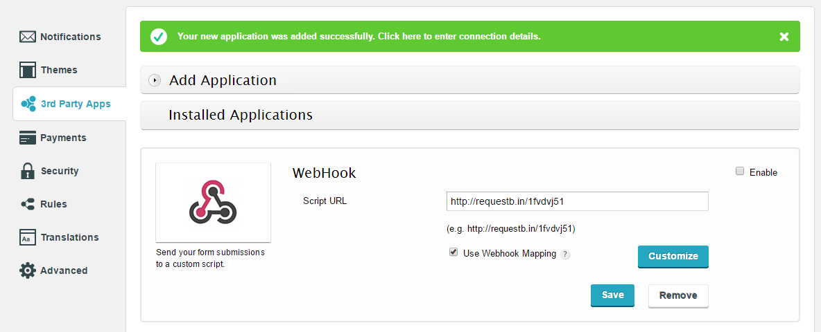add webhook to wordpress form